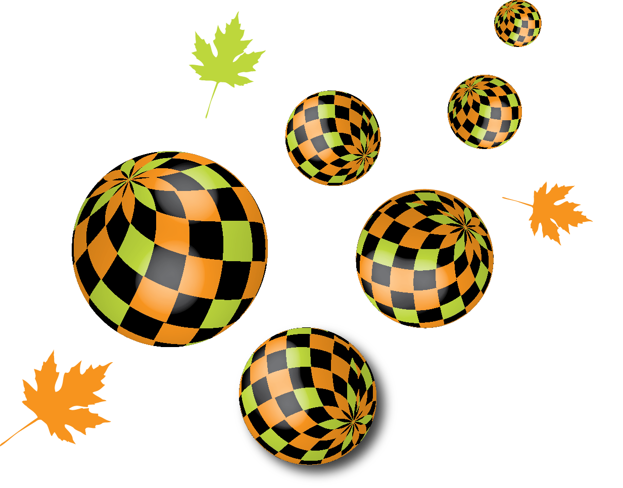 balls flying in perspective with mapple leaves